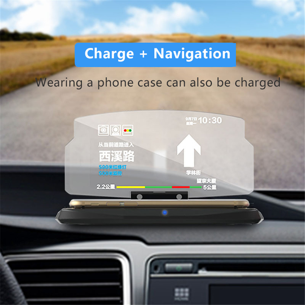 GKFLY QI Car Wireless Charger Mobile Phone Navigation Stand HUD Fast Charge Dedicated Base for iPhoneX 8 for Samsung