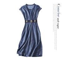 Джинсы с эластичной талией праздничное платье 2018 новый для подиума Женская летняя обувь платье высокого качества офисной леди линия платье