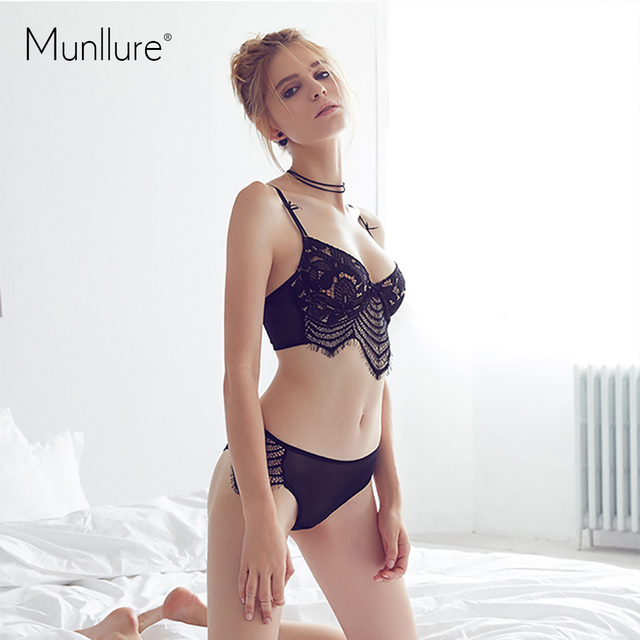 Munllure 2017 New Underwear cutout temptation transparent ultra-thin sexy lace bra unique bra set
