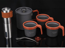 Manual  Mini Coffee  Pot Set   Maker and  Grinder Outdoor for Travel  Newbrand appropriate for tourists to carry around