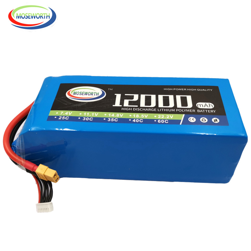 RC Aircraft <font><b>LiPo</b></font> Battery 22.2V <font><b>12000mAh</b></font> 25C 6S for RC Airplane Drone Quadrotor Car Boat Helicopter 6S RC Batteries <font><b>LiPo</b></font> 22.2V image