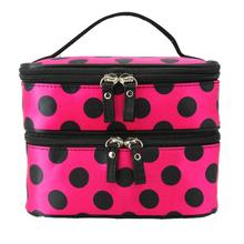 Naivety 2016 New Dots Double Layer Cosmetic Bag Portable Toiletry Storage Case Cosmetische zak 11S60921 drop shipping