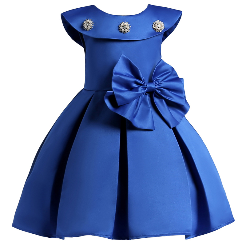 2018 New Baby Girls Bowknot Princess Dress Children Clothing Kids Wedding Dress For Girls Party Elegant Dresses Costume For Kids 2017 new girls dresses for party and wedding baby girl princess dress costume vestido children clothing black white 2t 3t 4t 5t