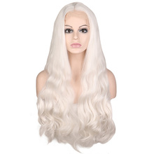 цена на QQXCAIW Handmade Natural Hairline Glueless Lace Front Wig For Women White Body Wave Heat Resistant Fiber Synthetic Hair Wigs