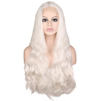 QQXCAIW 13*3 Inch Synthetic Lace Front Wig For Women White Handmade Natural Hairline Body Wave Heat Resistant Fiber Hair Wigs