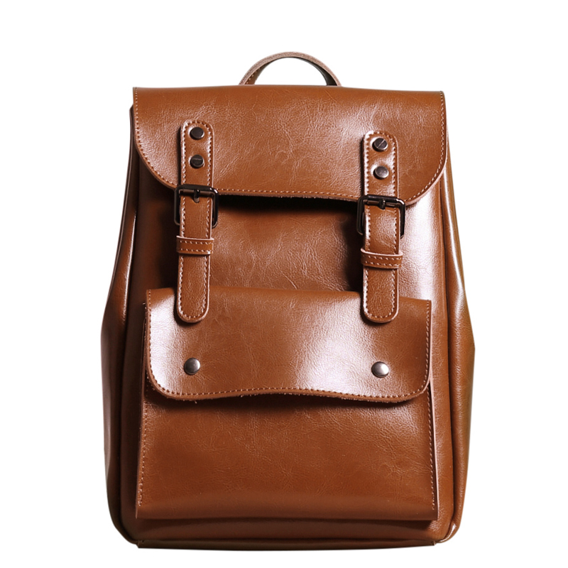 Women Genuine Leather Backpack College Bags For Teenagers Ladies Cow Leather backpack Vintage Mochila Casual Rucksack