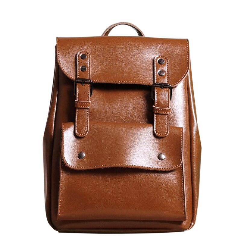 女性本革リュックカレッジバッグ用中高生レディース牛革バックパックヴィンテージmochilaカジュアルリュックサックデイパック  グループ上の スーツケース & バッグ からの バックパック の中 1