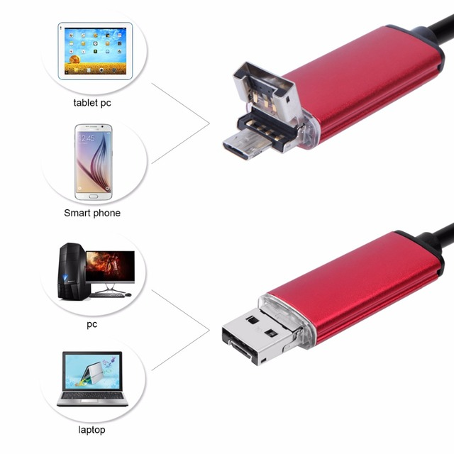 Endoscope 7MM 2M 5M 10M Endoscope HD USB Android Endoscopio Camera IP67 2IN1 Android Borescope USB Endoskop Inspection Camera