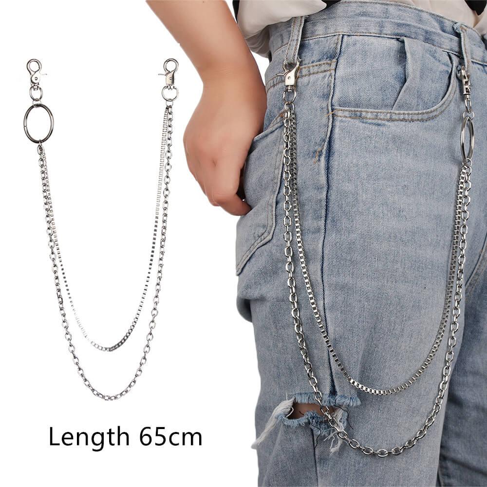 1 шт., длинные брюки, хипстерские брелки, панк-улица, большое кольцо, металлический кошелек, пояс, цепь, штаны, брелок, унисекс, хип-хоп ювелирные изделия, хороший подарок - Цвет: 65cm