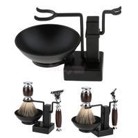 Bathroom Barber Men Metal Shaving Rack Stand Set Shaving Brush Holder Stand + Soap Mug Cup Bowl Black