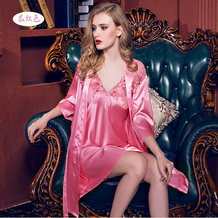 Newest Women Nightwear Nightdress Sexy Lingerie Faux Silk Robe Spaghetti Strap   Nightgowns     Sleepshirts   Women Sleepwear