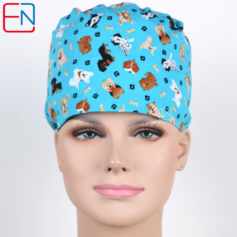 180410 Henner Surgical Caps , Women Doctor Nurse Medical Cap Woman Scrub Caps Printed Cotton Dome Scrub Hat For Doctor Unisex