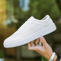Мужская Вулканизированная обувь, однотонная, на шнуровке, из PU искусственной кожи, однотонная мужская обувь, весна-осень, белая модная мужск...
