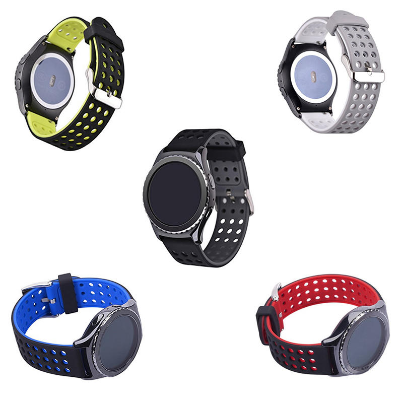 Sports Silicone Bracelet Watch Strap Band for Samsung Gear S3 Classic/Frontier Double Color Mixed Star Cutout Replacement eache silicone watch band strap replacement watch band can fit for swatch 17mm 19mm men women