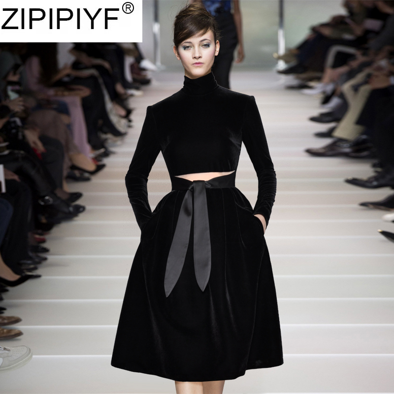 black tutu dress for women streetwear stand collar long sleeve knee length a line vintage slim