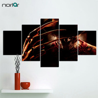 Unframed Hd Printed Nightmare On Elm Street Freddy Canvas Painting 5 Pcs Wall Pictures For Living