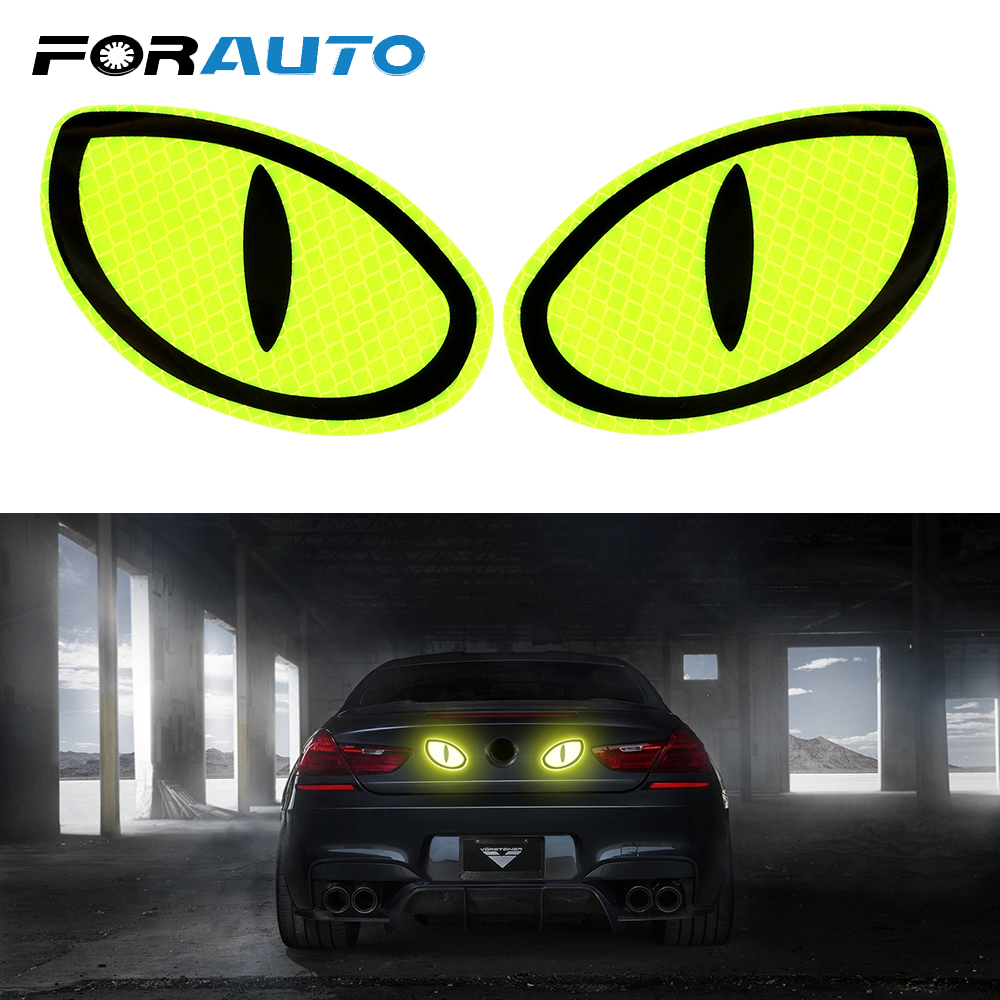 FORAUTO Reflective Tape 2Pcs Car Sticker Car Reflective Sticker Reflective Strips  Protective