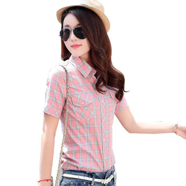 2018 New Fashion Summer Women Shirt Short Plaid Print Blouses Cotton Girl's College Style Dot Patchwork Female Tops Plus Size Women Shirts