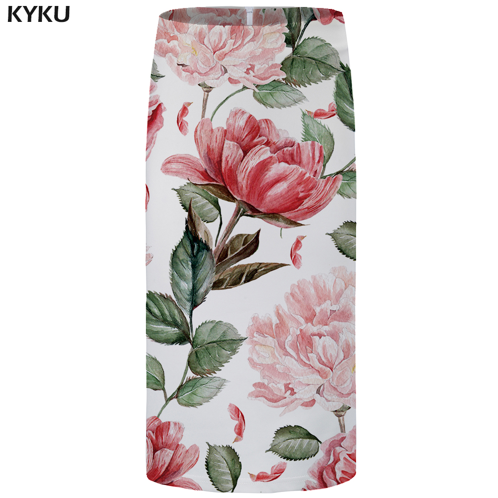 Kyku Leaf Skirts Women Beautiful Party Elegant Skirt Gothic Summer Sexy Ladies Skirts Anime Knee Length 2019 New Plus Size