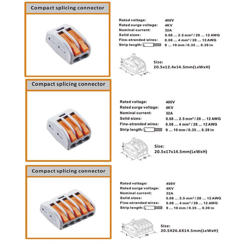 (1 шт./10 шт.) 221 222 412-413 415 мини быстрые провода разъемы, универсальный разъем кабеля проводки, нажимной клеммный блок