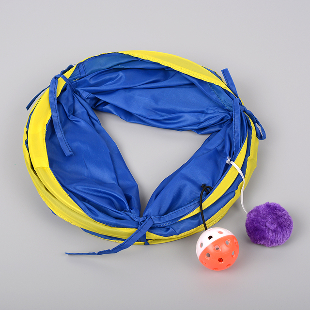 New Foldable Pet Tunnel Funny Cat Gog Ferrets Rabbits Crinkle With Ring Bell Toy Collapsible Colorful 55cm