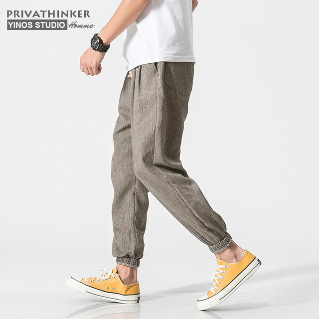 Privathinker Cotton Linen Casual Harem Pants Men Joggers Man Summer Trousers Male Chinese Style Baggy Pants 2020 Harajuku Clothe 1