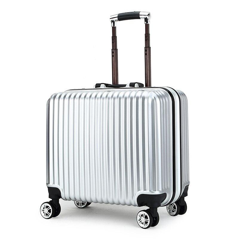 أعلى الأزياء الأعمال السفر المتداول الأمتعة حقيبة مصنوعة من الألومينيوم 18 بوصة الكمبيوتر حقيبة تروللي بعجلات ABS + PC حقيبة سفر سبينر الصعود صناديق-في حقائب سفر بعجلات من حقائب وأمتعة على  مجموعة 1