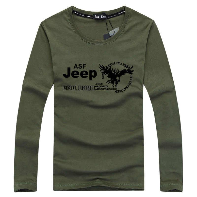 AFS JEEP Marke Sommer Military T Shirt Männer Baumwolle mit Langen ärmeln Brief O Neck T-shirts Männer Tops Tees Plus größe 5XL t hemd homme