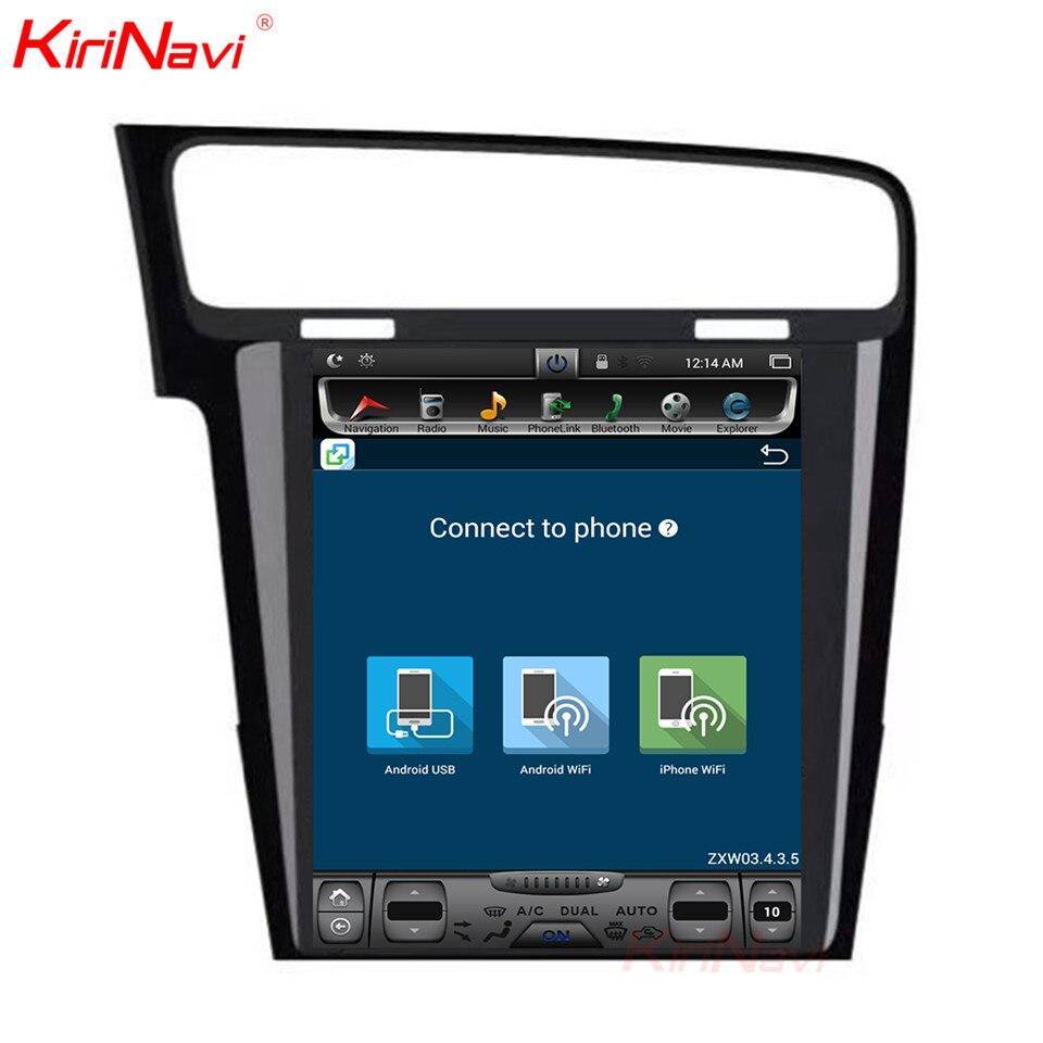 KiriNavi écran Vertical Tesla Style Android 7.1 10.4 lecteur DVD multimédia de voiture pour VW Golf 7 Radio Navigation 2013 2014 2015 + - 5