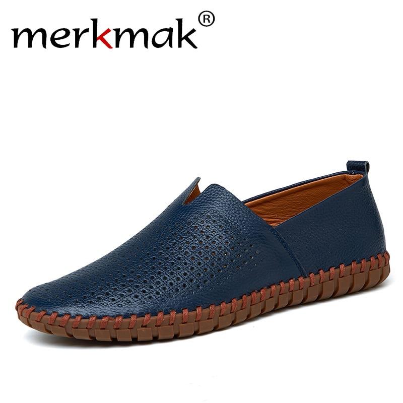 Genuine Cow Leather Men Loafers 2018 Fashion Handmade Moccasins Leather Men Flats Blue Slip On Men's Boat Shoe Plus Size 38~47