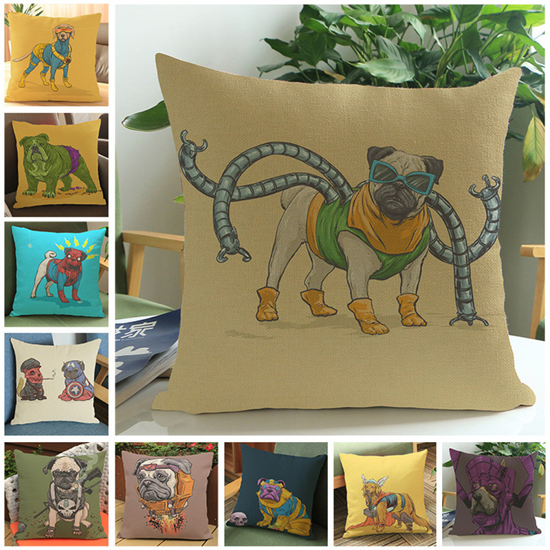 Super hero dogs animal spider cartoon Pillow case Cushion Cover Home sofa hotel club coffee shop Decoration for children gift