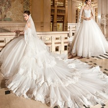kejiadian Wedding Dress Detachable Train Ball Gown