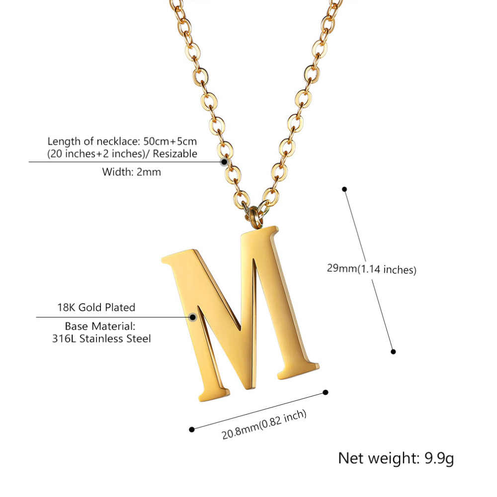 Kpop Initial Necklace Statement Jewelry Stainless Steel Gold Alphabet Letter A to Z Personalised Name Necklace Men Women P2801