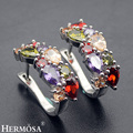 Hermosa Jewelry Rainbow Peridot Garnet Amethyst Morganite Mulit 925 Sterling Silver Earrings