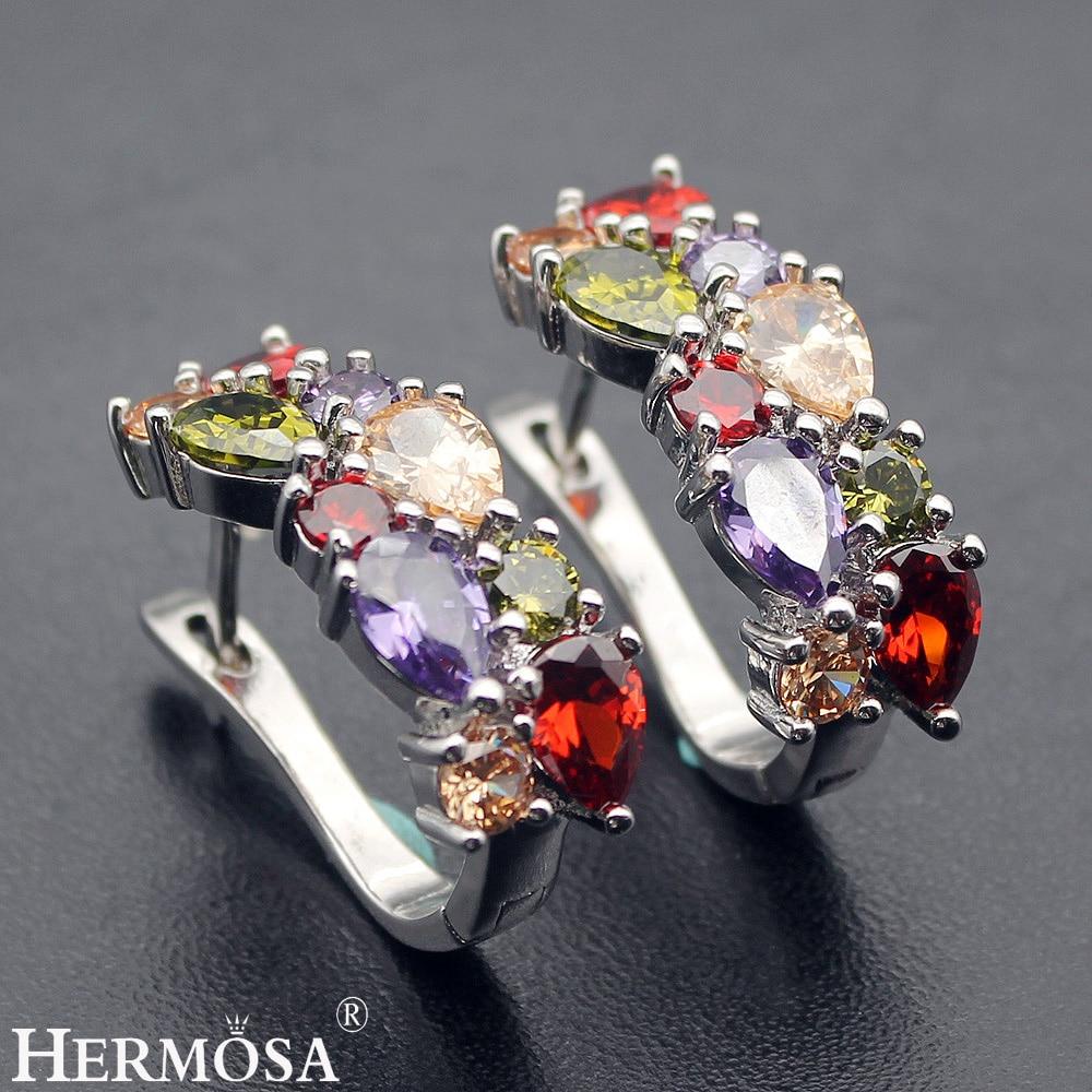 цена Hermosa Jewelry Rainbow Peridot Garnet Morganite Mulit 925 Sterling Silver Earrings онлайн в 2017 году