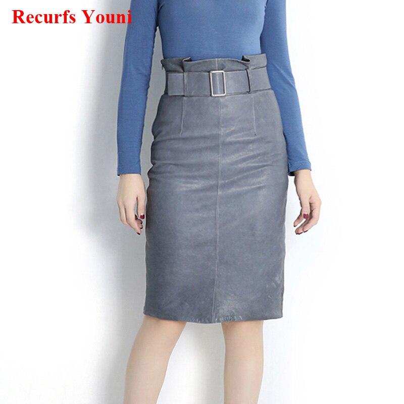 RYS8337 Women Spring Genuine Leather High Waist Pencil Skirt With Belt Female Fold Split Distress Purple