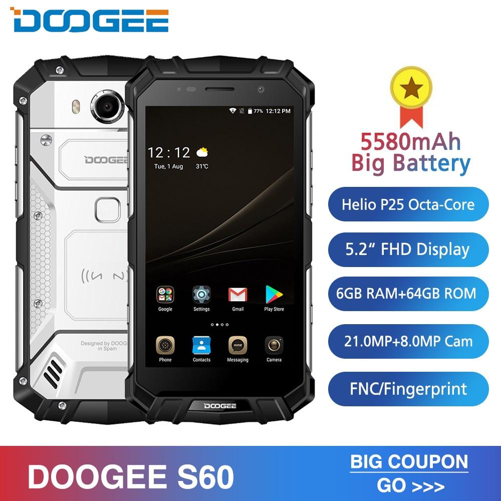 IP68 DOOGEE S60 6 GB RAM 64 GB sans fil Charge Smartphone MTK Helio P25 Octa Core Android 7.0 21.0MP 5580 mAh téléphone portable étanche