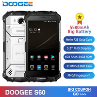 IP68 DOOGEE S60 6GB RAM 64GB Wireless Charge Smartphone MTK Helio P25 Octa Core Android 7.0 21.0MP 5580mAh Waterproof Cellphone