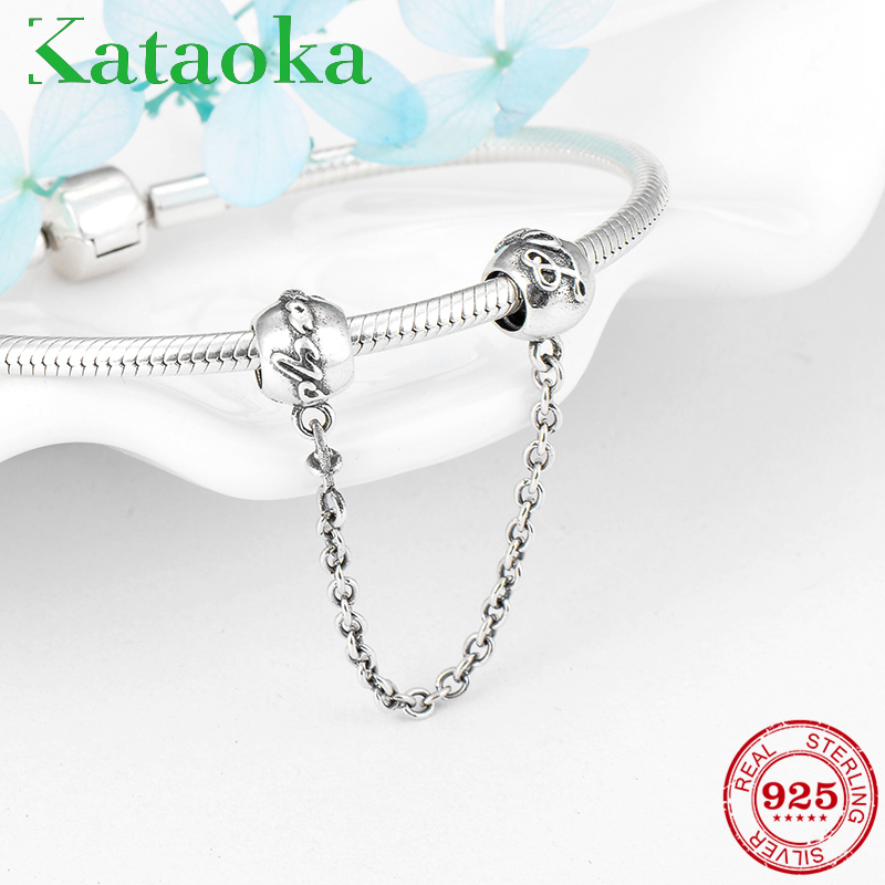 Beads & Jewelry Making 925 Sterling Silver Charms Bead Diy Gold Love Safety Chain For Original Pandora 925 Sterling Silver Bracelets Bangles Xcy139 Jewelry & Accessories