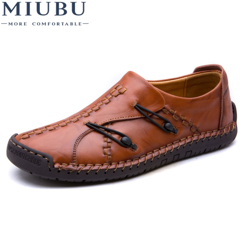 MIUBU Brand Fashion Summer Soft Moccasins Men Loafers High Quality Genuine Leather Shoes Men Flats Gommino Driving Shoes