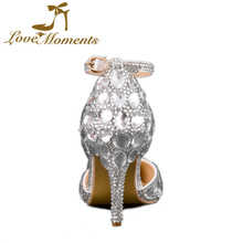 Love Moments White Crystal Diamond  Pointed Toe Pink Wedding Shoes for Bride Women  Birthday  Party Shoes High Heels Hot