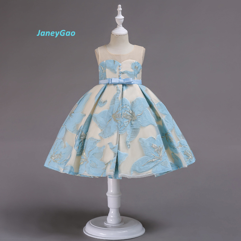 JaneyGao   Flower     Girl     Dresses   For Wedding Party Fresh Blue Pink Yellow   Girl   Princess   Dress   Embroidery With Button Bow New Style
