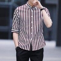 New men's Korean slim shirt long sleeve striped men's shirt