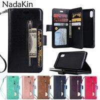 Кошелек на молнии с 9 карманами для карт, функциональный чехол-книжка для IPhone X XS MAX XR 5 5S 6 6 S 7 8 Plus, роскошный кожаный чехол-книжка