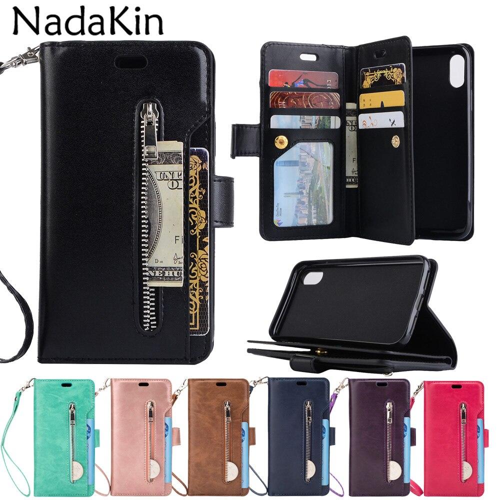 Zíper carteira 9 bolsos de cartão caso livro funcional para o iphone x xs max xr 5 5S 6 s 7 8 plus luxo flip couro bolsa escudo