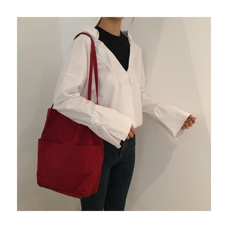 6 Colors Canvas Shopping Bag Foldable Reusable Grocery Tote Bag Cotton Fabric Handbags Bolsos Mujer Household Beach Bag