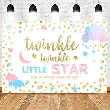 Mehofoto Twinkle Star Gender Reveal Backdrop Pink or Blue Stars White Background Boy Girl Banner Backdrops