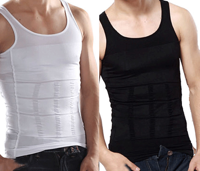 2 Packs White and Black Men Slim Body Lift Shaper Belly Fatty BUSTER Underwear Vest Corset Compression Slimming Body Shaper