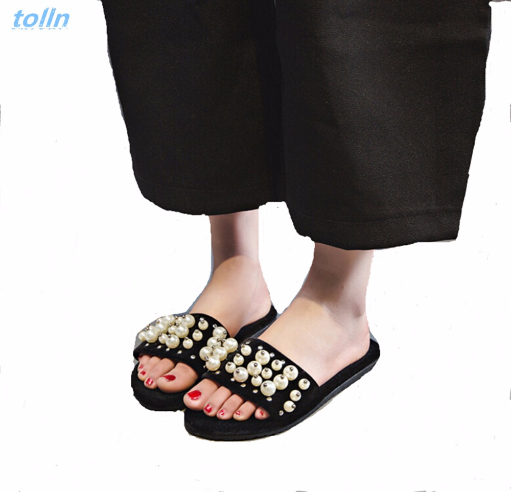 2017 Summer Pearl women Slippers Velvet Sandals Flip Flops Slip On Flats Woman Beach Platform Women Shoes Plus size 35-39  poadisfoo 2017 new summer style slip on women sandals flats for women black white color slippers shoes women hykl 1603