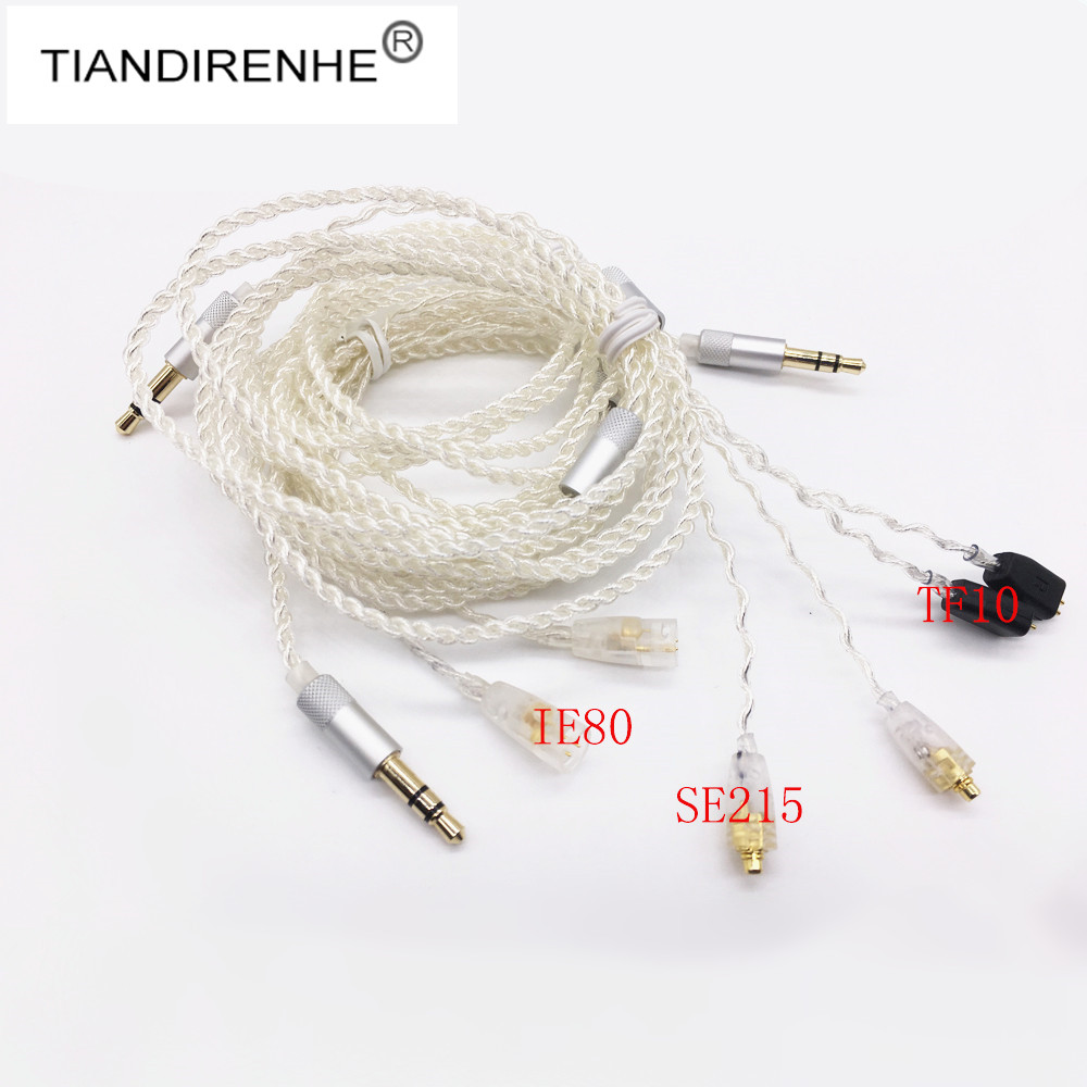 Tiandirenhe MMCX Cable for Shure SE215 SE535 Silver Plated Earphone Wire HIFI Headset Line For Sennheiser IE8 IE80 TF10 IM50 chrome oxide plated steel wire guide pulley for wire industry